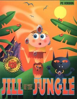 "Original box art for ""Jill of the Jungle,"" a shareware DOS game by Epic Megagames, 1992"