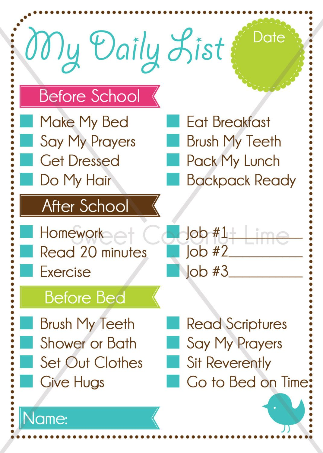 Editable Chore Charts  KidS Editable Daily List And Chore Chart