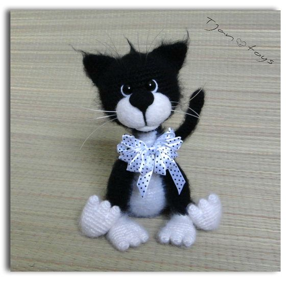 cat black white ooak stuffed animals crochet handmade soft toy decor amigurumi made to order. Black Bedroom Furniture Sets. Home Design Ideas