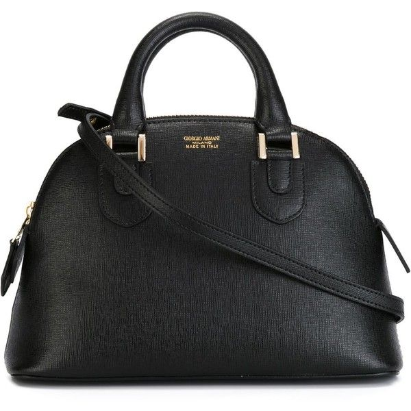 Giorgio Armani Mini Bowling Tote ($768) ❤ liked on Polyvore featuring bags, handbags, tote bags, black, mini tote bag, black leather tote bag, black leather tote, leather handbags i leather tote bags