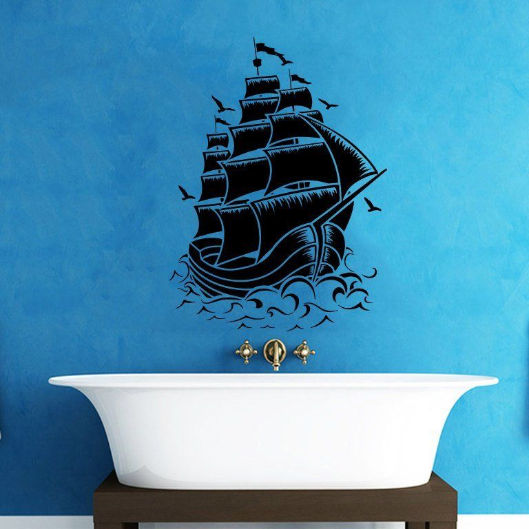 Fancy | Pirate Ship Wall Decal Nautical Sea Boat Ocean Decals Wall ...