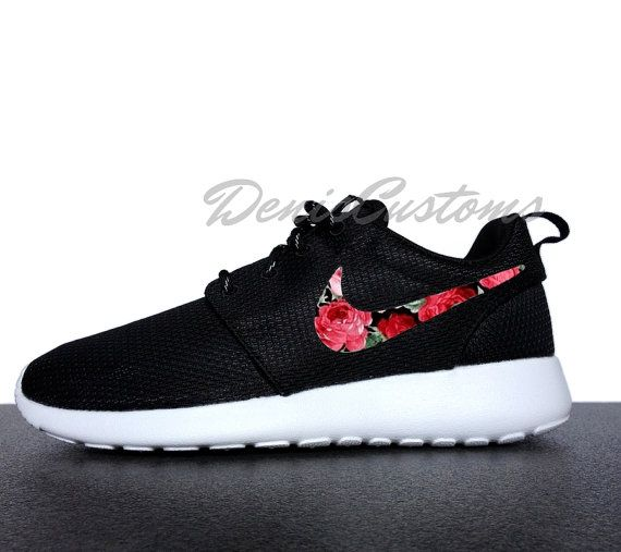 factory price 39c7c 739aa ... sweden nike roshe run one black with custom red pink rose floral print  582ed 98abe