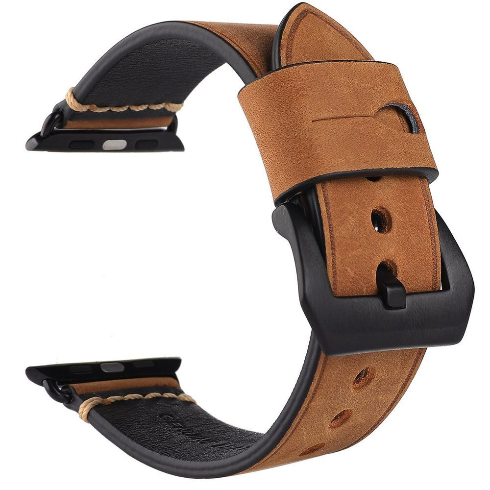 755a8baf61def Eache Apple Watch Band 42Mm Tan Calfskin Leather Replacement Iwatch Band  Black A