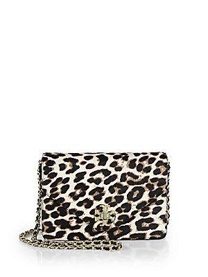 Tory Burch Kira Leopard Print Calf Hair Envelope Crossbody Bag