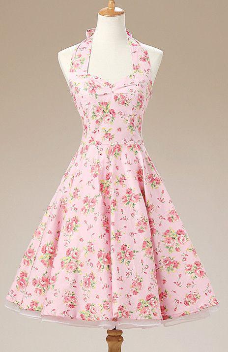 Pink Floral Vintage Dress | Falda, Vestiditos y Patrones