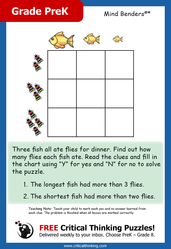 fa01e116204 FREE Award-Winning Critical Thinking Puzzles! Sign Up Today! Delivered  weekly to your inbox. Choose PreK – Grade 8. Can your child figure out the  answer(s)