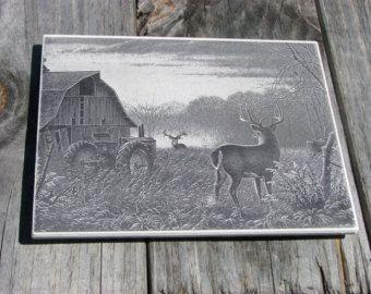 rustic deer barn scene engraved ceramic