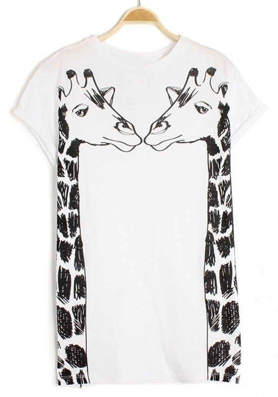 73fddde6 White Giraffe Print Short Sleeve Cotton T-Shirt - I need this! @Danielle  Worthington