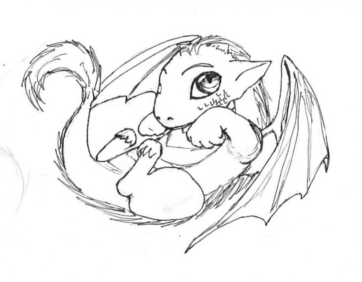 Cute And Sweet Little Baby Dragon Coloring Page For Kids | Fantasy ...