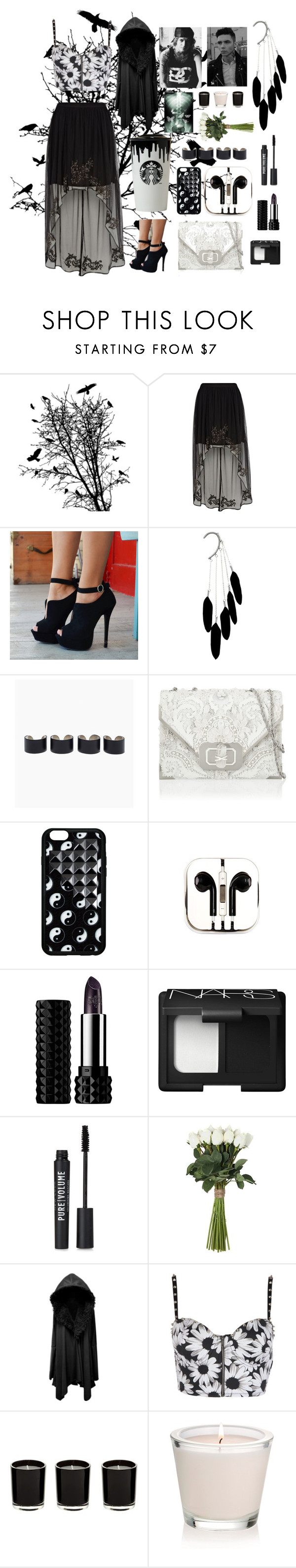 """""""Black And White Date!"""" by nicoleroache001 ❤ liked on Polyvore featuring River Island, Maison Margiela, Marchesa, PhunkeeTree, Band of Outsiders, Kat Von D, NARS Cosmetics and Sia"""