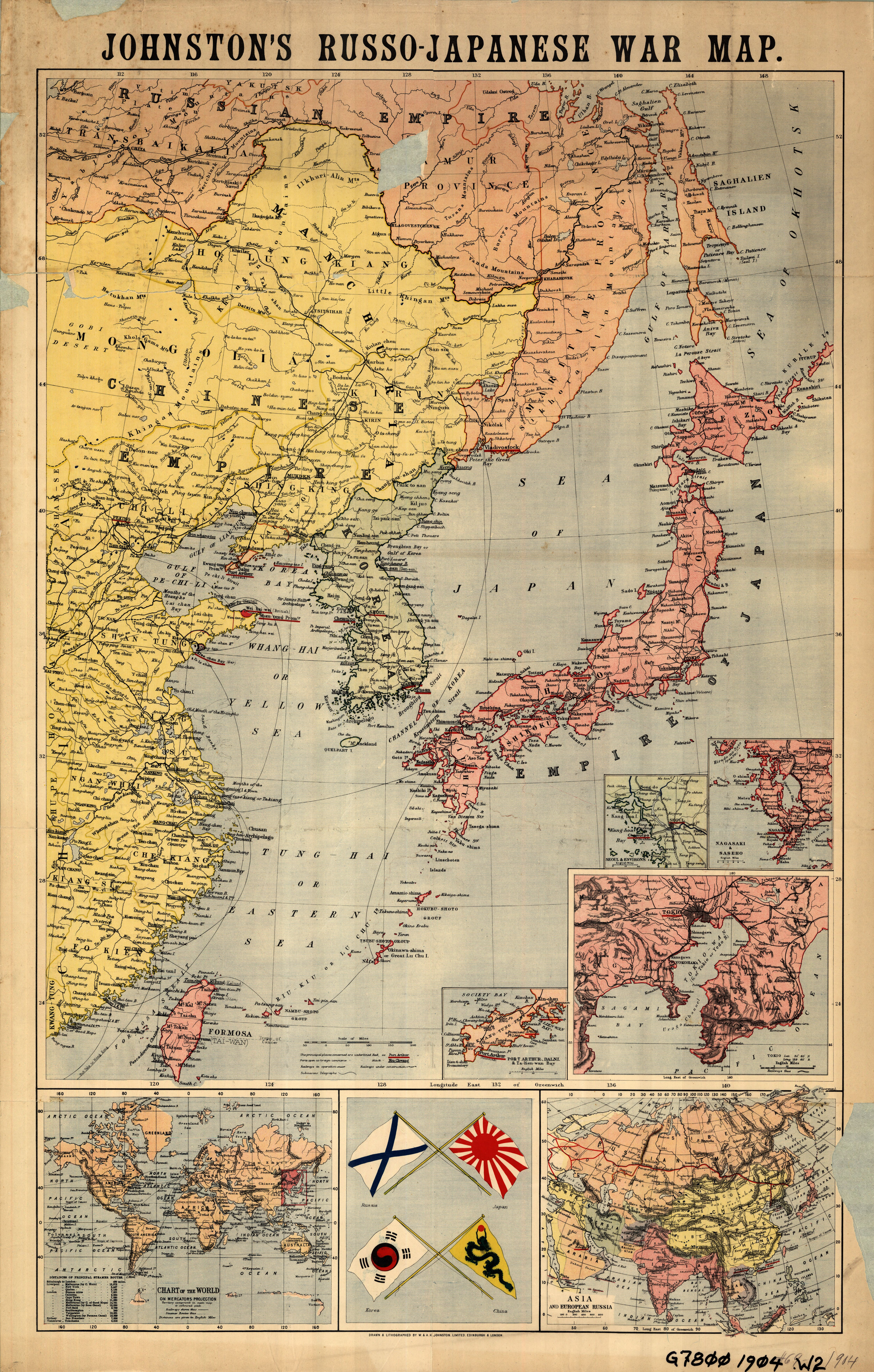 Johnstons Russo Japanese War Map a Johnstons Russo Japanese