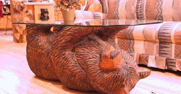 Wonderful Carved Bear Coffee Table Chain Saw Art Carving Wood Art