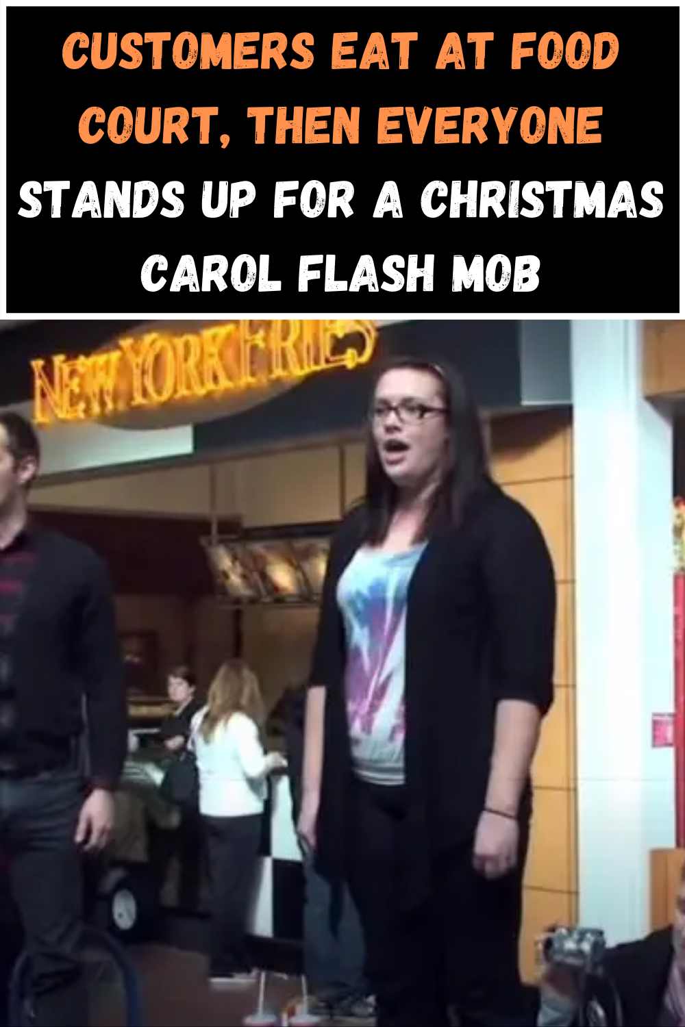 Flash Mob Christmas 2020 Customers eat at food court, then everyone stands up for a