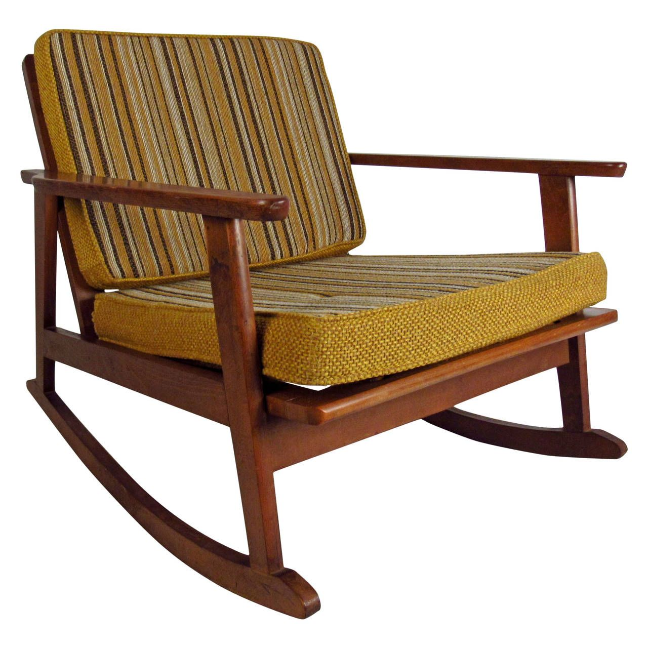 Mid Century Modern Walnut Rocker With Striped Cushions From A Unique Collection Of Antique Mid Century Rocker Modern Rocking Chair Mid Century Rocking Chair