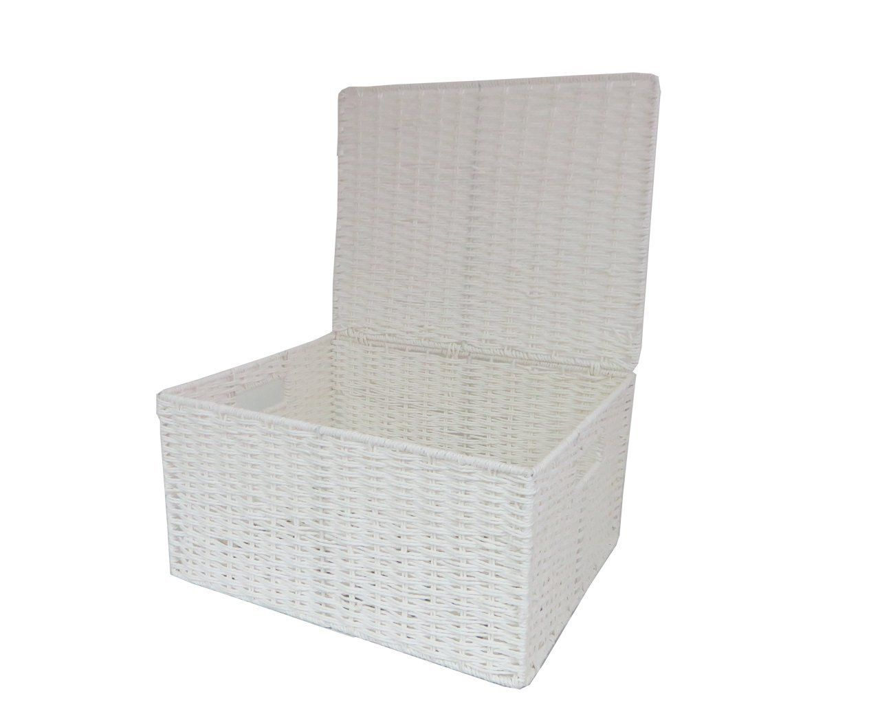 Attirant Arpan Paper Rope Storage Basket Box With Lid   White (Large ): Amazon.