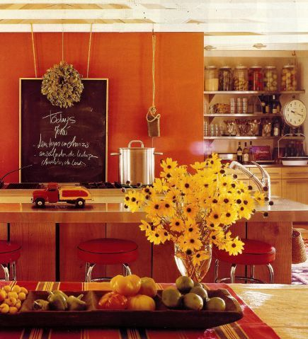 Red And Orange Combine To Warm The Kitchen Orange Kitchen Kitchen Decor Apartment Warm Kitchen