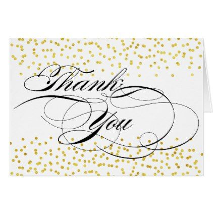 elegant calligraphy thank you with gold confetti card script gifts