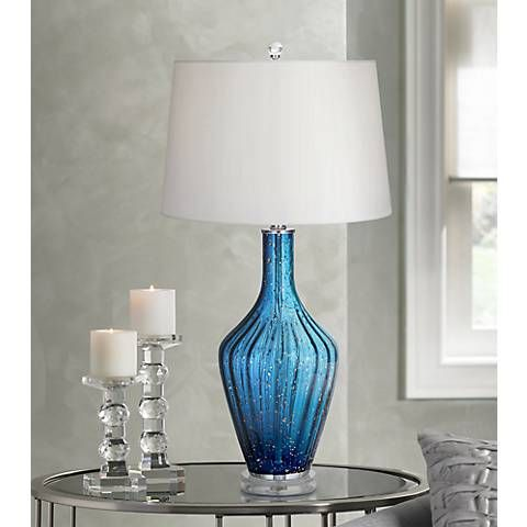 Possini Euro Mia Blue Drip Ceramic Table Lamp   #1V229 | Lamps Plus
