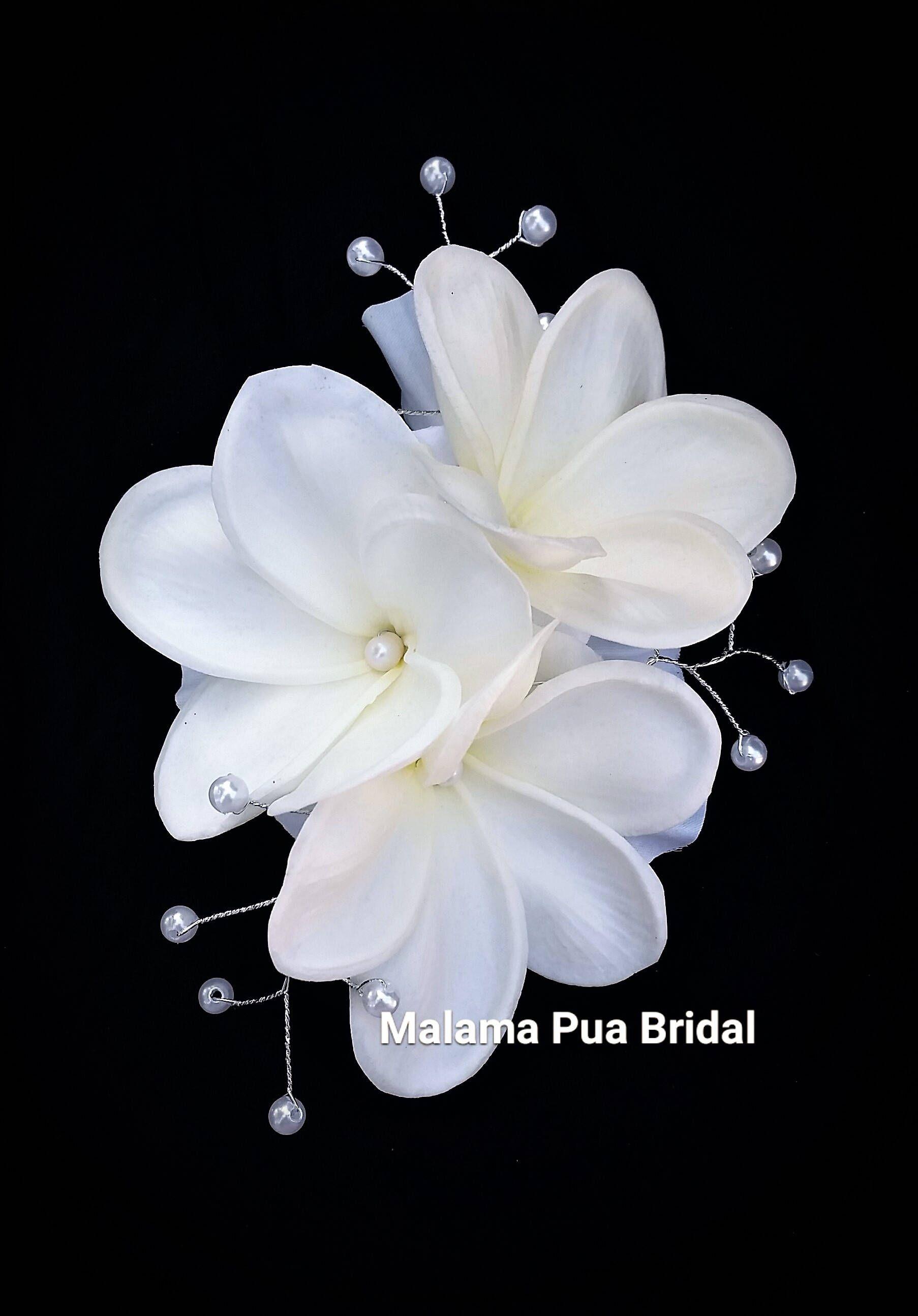 wedding hair clip, tropical hawaiian plumeria, bridal, silk
