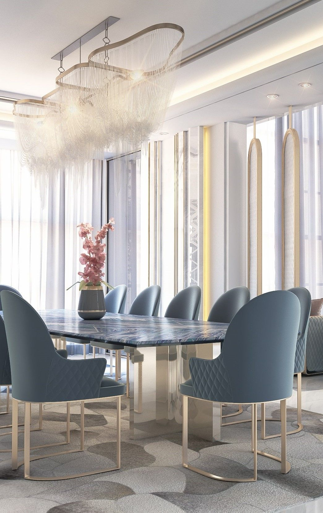 Dining Room In Private Villa Dubai By Maher Mouhajer