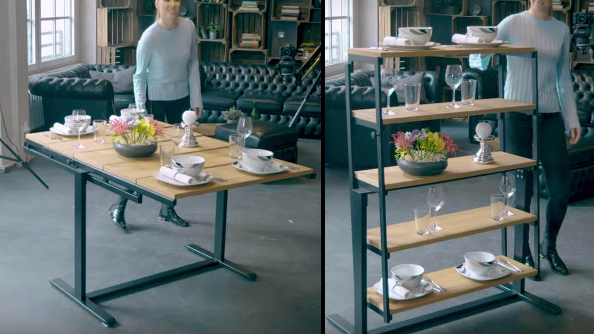 Swing Convertible Table Shelf With Images Convertible Table Table Shelves Swing Table