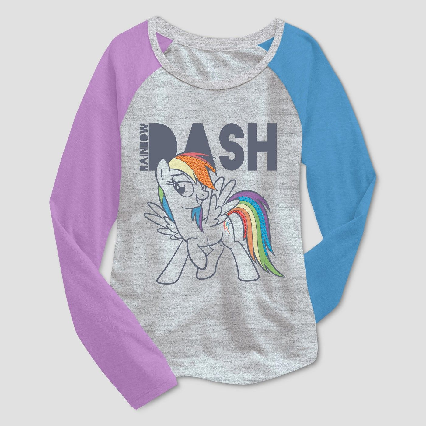 11b6ba5818a Girls' My Little Pony Rainbow Dash Long Sleeve T-Shirt - Heather Gray XL  #Dash, #Long, #Rainbow