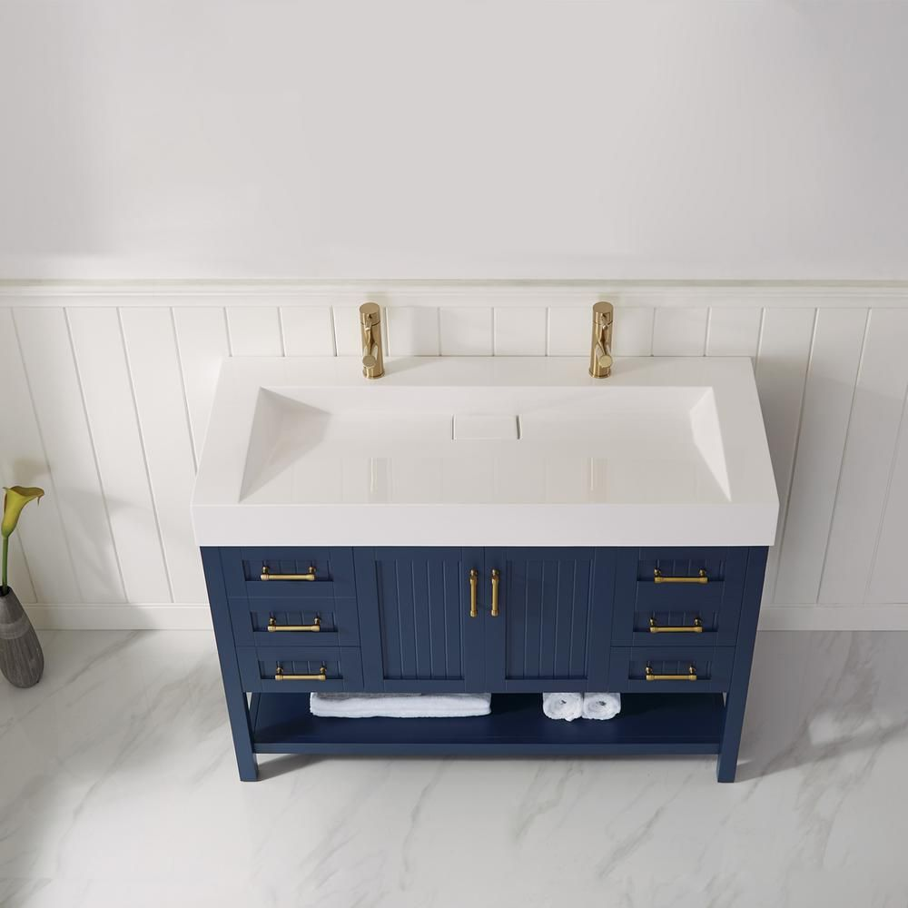 Roswell Pavia 48 In Bath Vanity In Blue With Acrylic Vanity Top In White With White Basin 855048p Rb Whn The Home Depot In 2020 Single Bathroom Vanity Single Vanity Bathroom Vanity Base