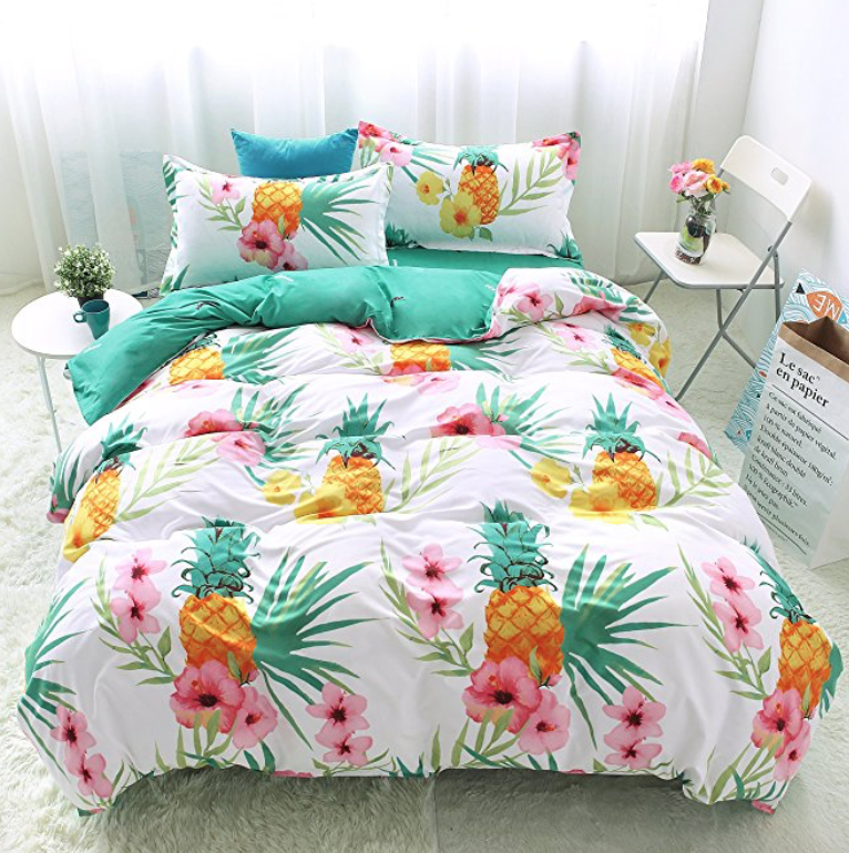 Bedding Duvet Cover Sets 3 Pieces Full Queen Size 90 X90 Microfiber Pineapple Pink Flowers Green Leaves Whit Pineapple Bedding Tropical Bedrooms Bedding Sets