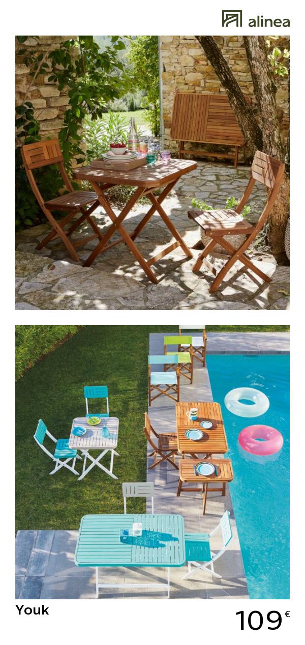 alinea : youk table de jardin pliante en acacia huilé (2 à 4 ...