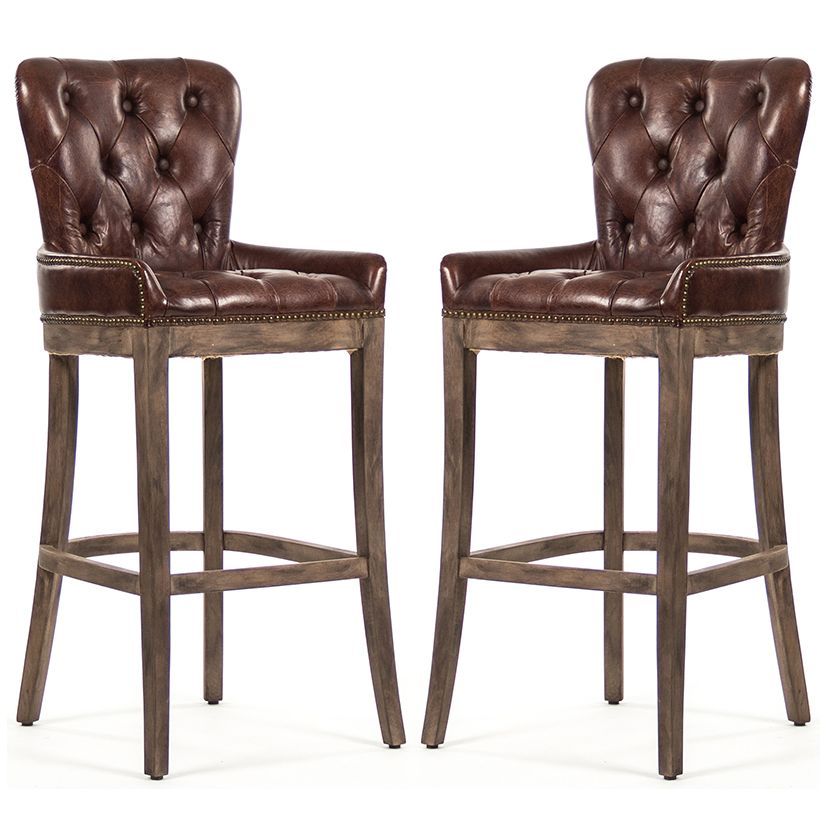 Charming Tufted Leather Bar Stools   Rustic Retreat