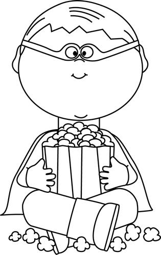 door clipart black and white. Black And White Boy Superhero Eating Popcorn Clip Art - Image Door Clipart