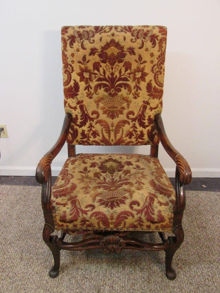 Antique French Highback Upholstered
