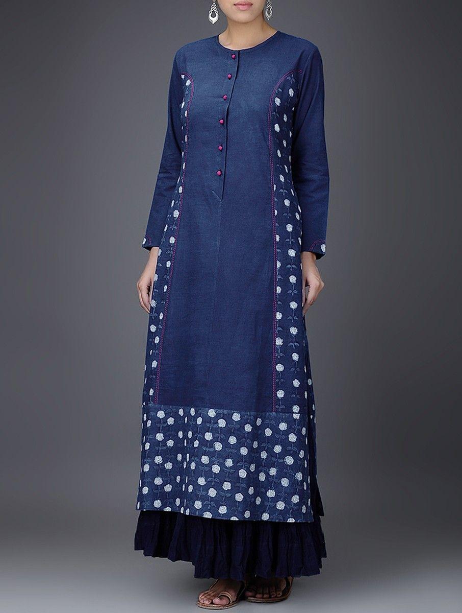 9c1e842910bd Buy Indigo White Embroidered Dabu Printed Cotton Kurta Women Kurtas Gulaab  E Neel dresses tops pants and more Online at Jaypore.com