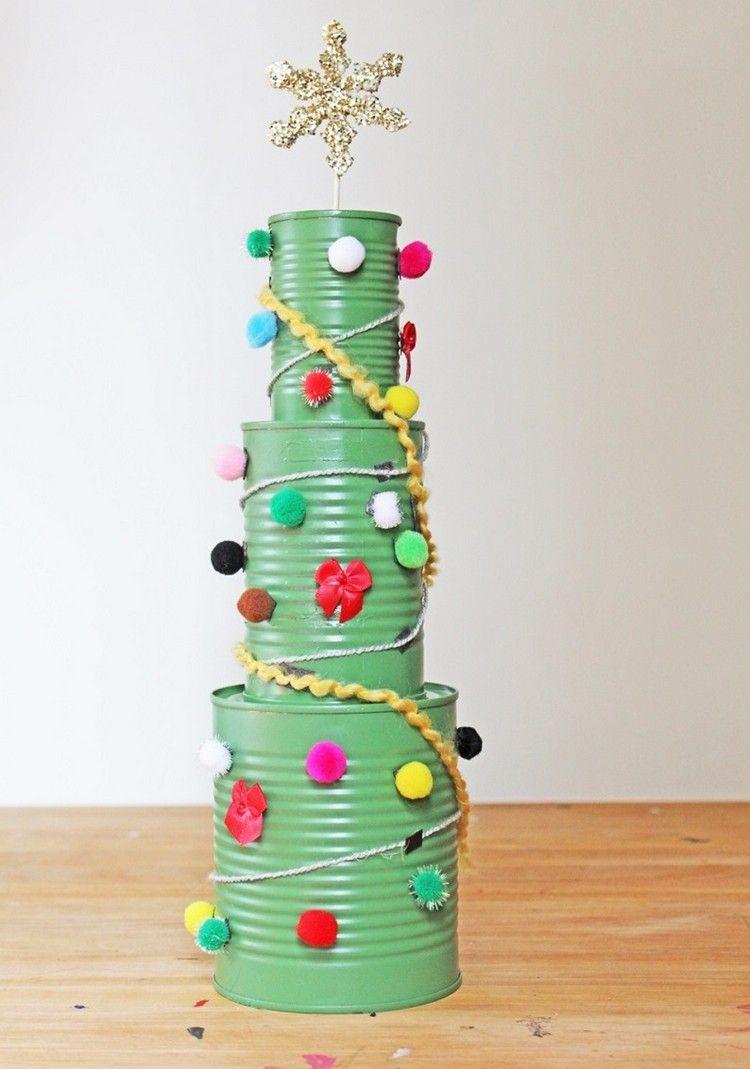 Recycling ideen basteln  blechdosen basteln weihnachtsbaum recycling ideen kinder   Basteln ...