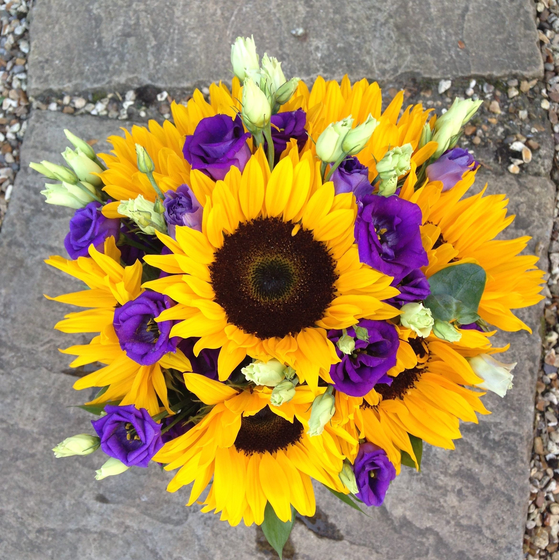 Sunflowers And Purple Lisianthus Bouquet Wedding Flowers
