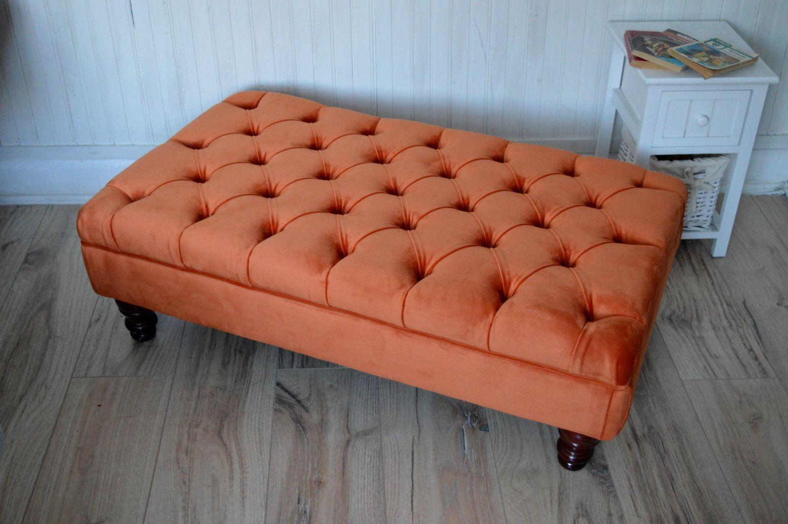 orange velvet chair and footstool