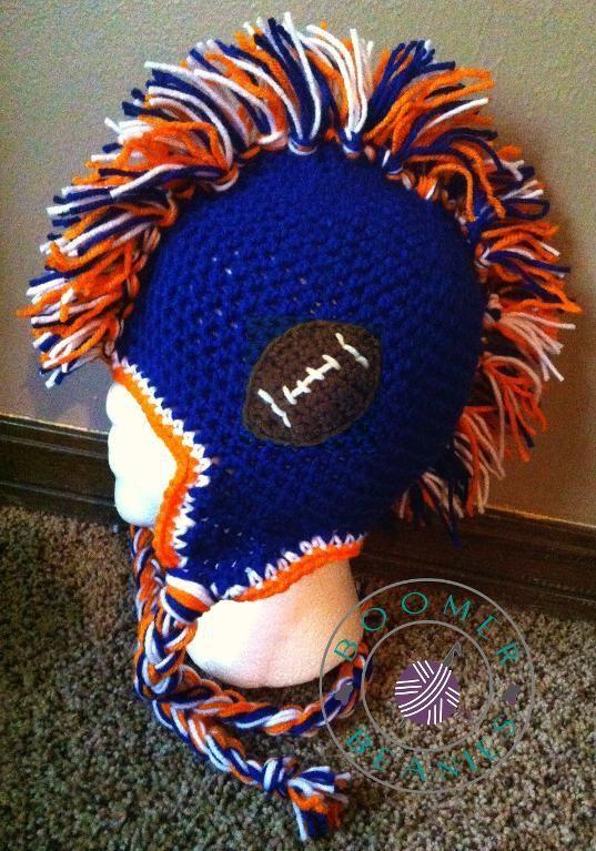 Mohawk Beanie ALL SIZES-Football pattern | Bronco stuff | Pinterest