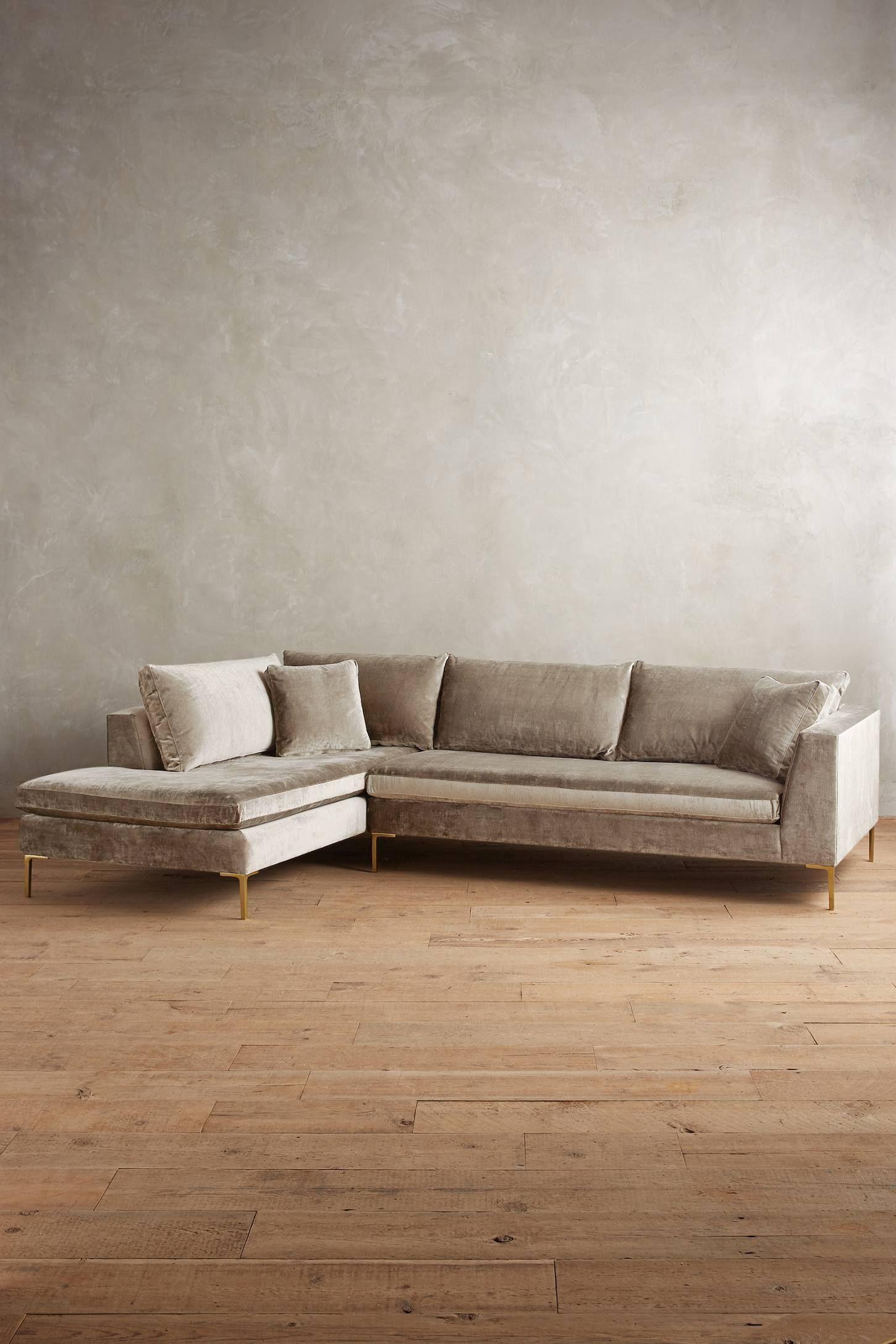 Slub velvet edlyn left sectional anthropologie for White velvet sectional sofa