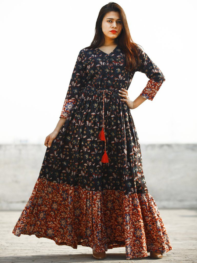 Indigo Brown Red Blue Hand Block Printed Long Cotton Dress With Tie Up Waist And Tassels D170f1139 Cotton Long Dress Frock For Women Cotton Gowns