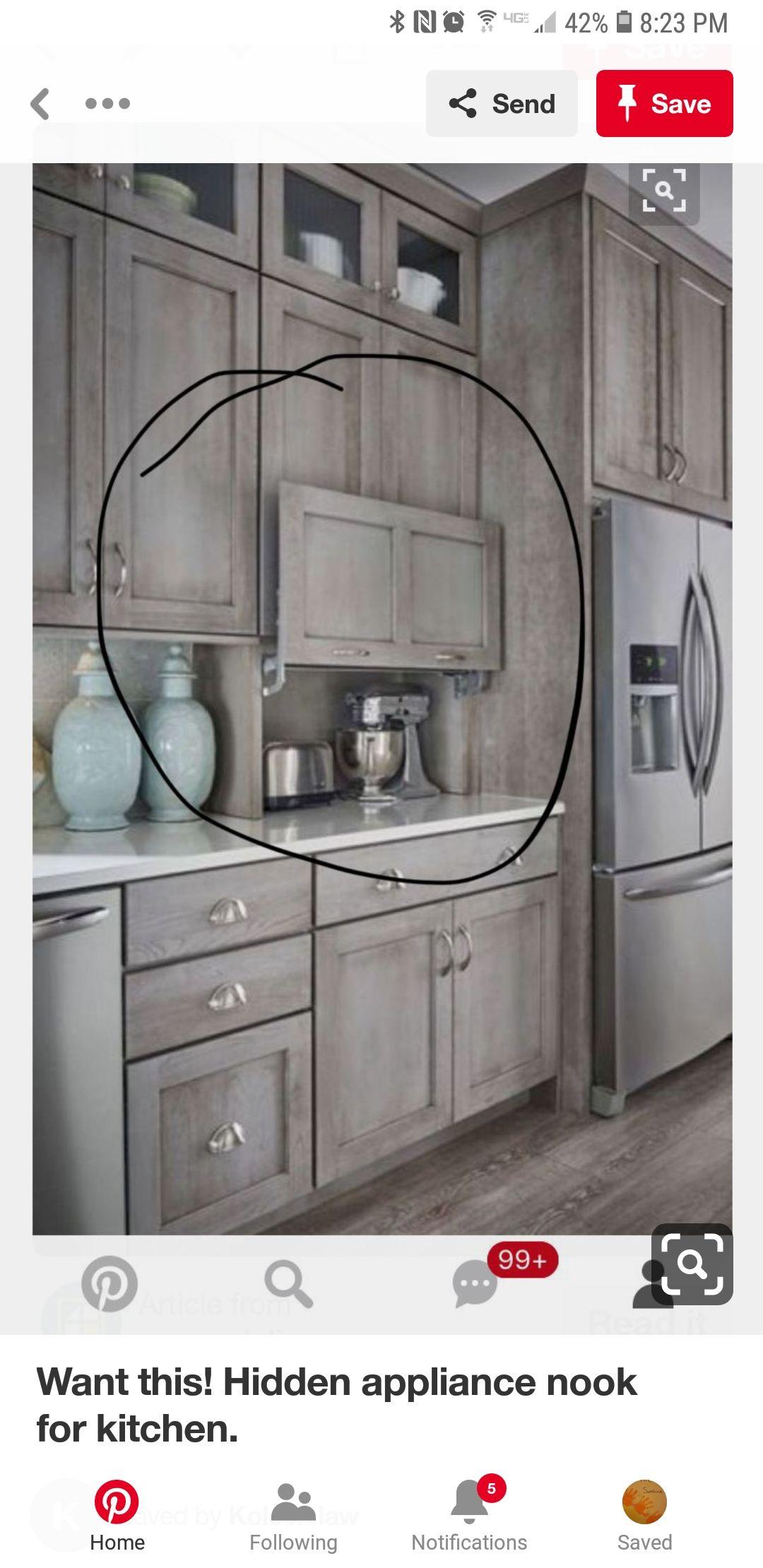 Hidden Appliance Nook I D Use It For Coffee Machine And Paraphernalia Home Decor Kitchen Kitchen Remodel Kitchen Design