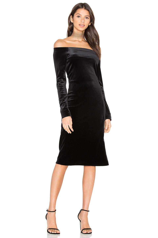 Three dots velvet off shoulder dress in black revolve dresses