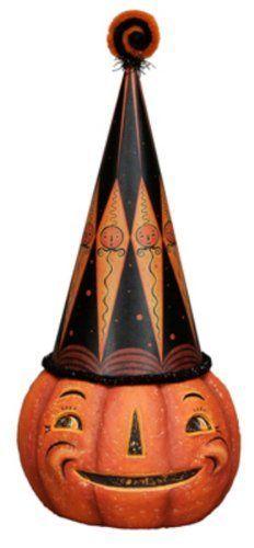 diamond hat jack pumpkin vintage halloween decor by primitives by kathy 2300 - Primitives By Kathy Halloween