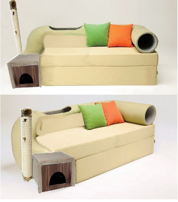 Nice The Cat Tunnel Couch Is Sure To Cause Arguments Between Cat Lovers And  Their Spouses My Lady And I Have Been Eyeing Up New Sofas Lately And  Decided On An L Photo Gallery