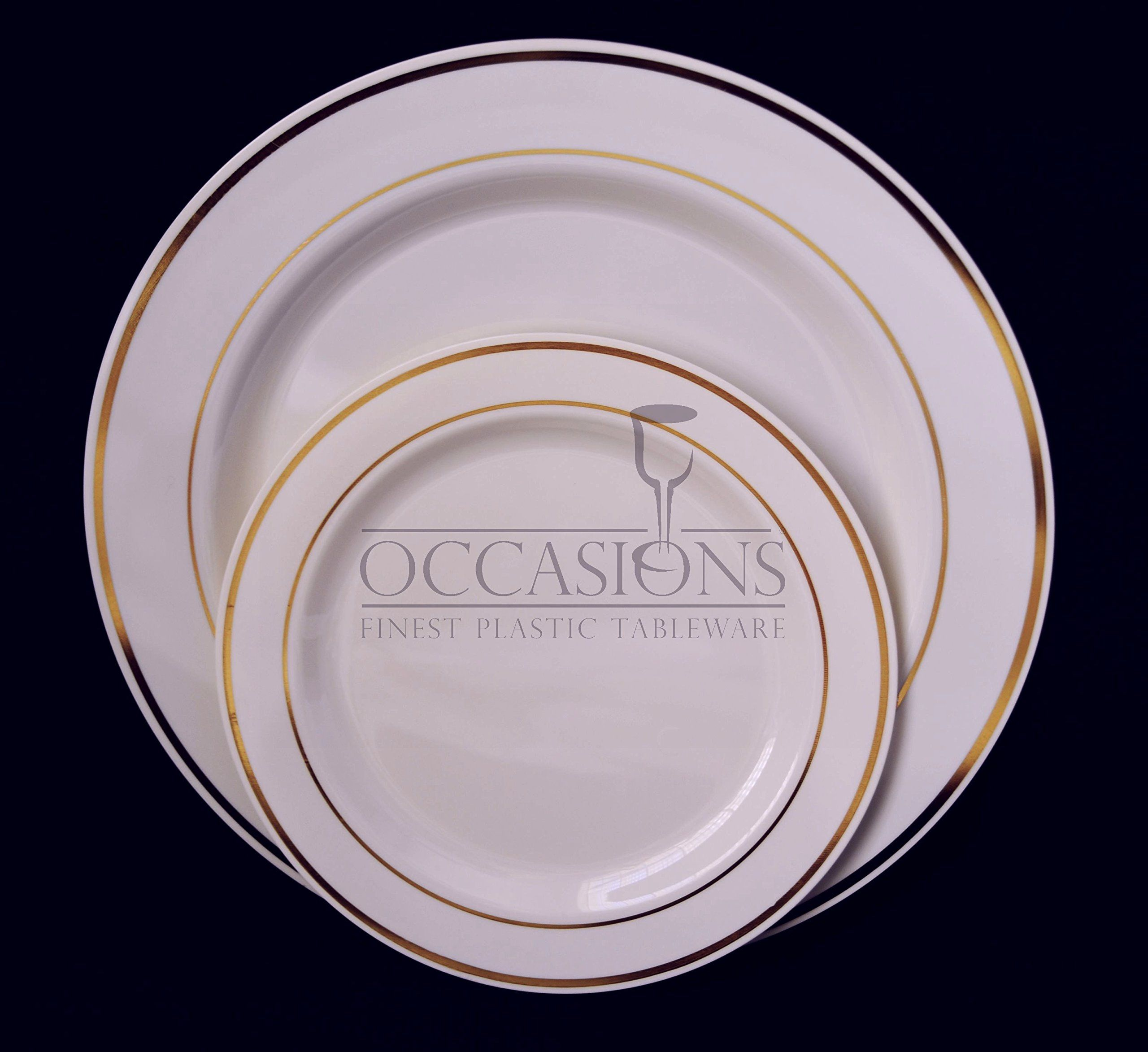Amazon.com Bulk Disposable Plastic Plates - Masterpiece Style- Bone with Gold rim. Choose qttys and size inside! (10 10.5\u0027\u0027 dinner plate) Kitchen \u0026 ...  sc 1 st  Pinterest & Amazon.com: Bulk Disposable Plastic Plates - Masterpiece Style ...
