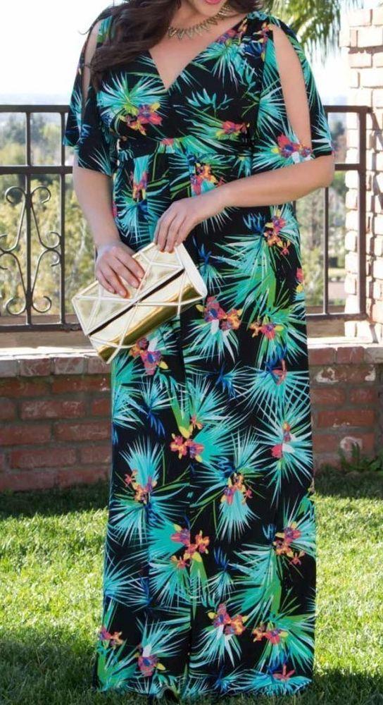f3f88349672dd Kiyonna Maxi Dress 4 4x Hawaiian Tropical Coastal Cold Shoulder Lane Bryant  Plus  Kiyonna  Maxi  SummerBeach