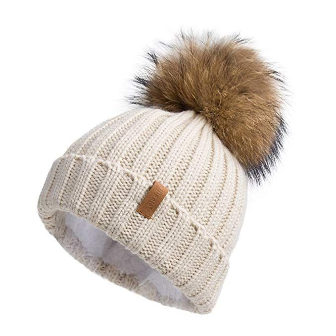 fae950134fcee Pilipala Women Knit Winter Turn up Beanie Hat with Fur Pompom VC17604 Beige  Gold Pompom