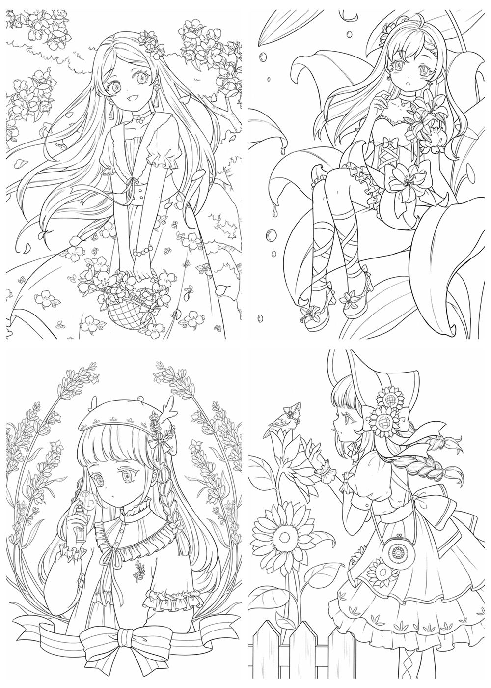 381. Coloring Book of Flower Fairy and Dresses ...