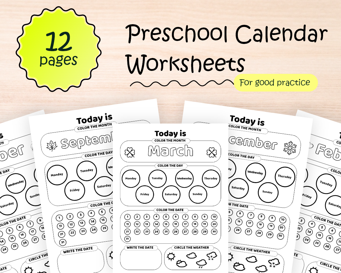 Preschool Calendar Worksheets With 12 Pages Of Activity In