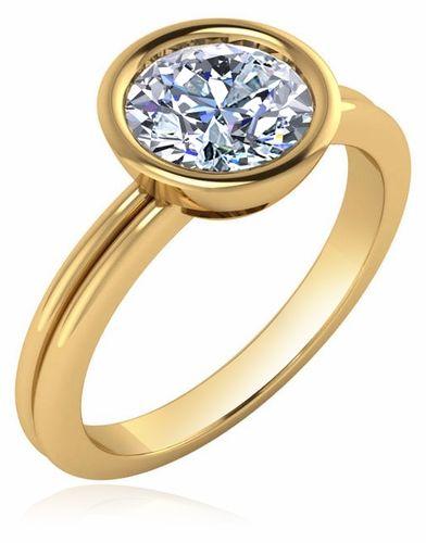 1 5 Carat Round Cubic Zirconia Bezel Set Solitaire Engagement Ring Bezel Set Engagement Ring Engagement Rings Solitaire Engagement Ring