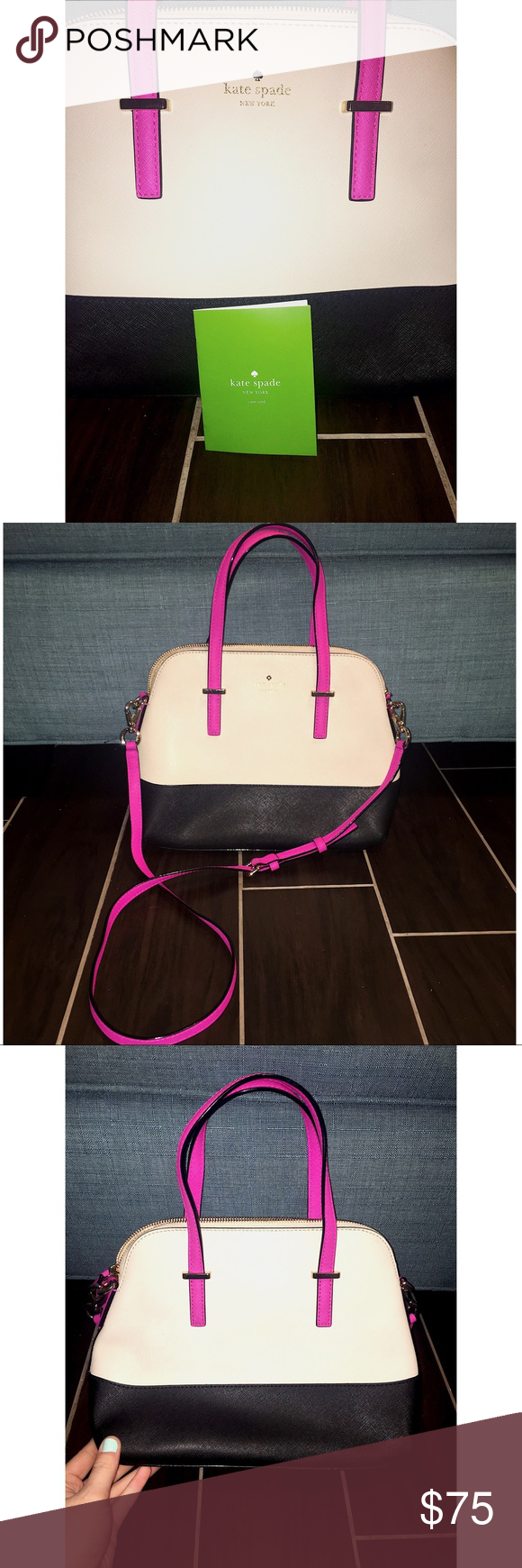 Kate Spade Bag - Rare! Rarely available design by Kate Spade - black and cream base with hot pink handles and cross-body strap. Very gently used; zero damages, bottom and edges are still in perfect condition! Comes with original dust bag, as well. kate spade Bags